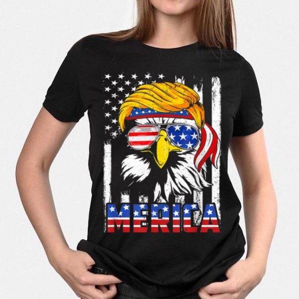 Merica Bald Eagle 4th of July Trump American Flag shirt