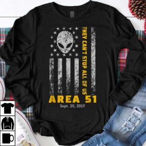 Original Storm Area 51 They Can't Stop All Of Us Alien Face American Flag shirt