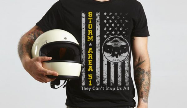 The Best Storm Area 51 Shirt They Can't Stop All of Us UFO American Flag shirt