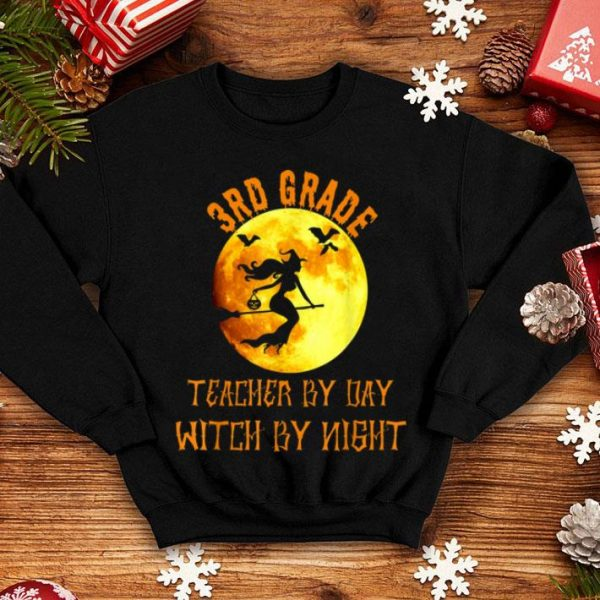 Funny 3rd Grade Teacher By Day Witch By Night Halloween Gift shirt