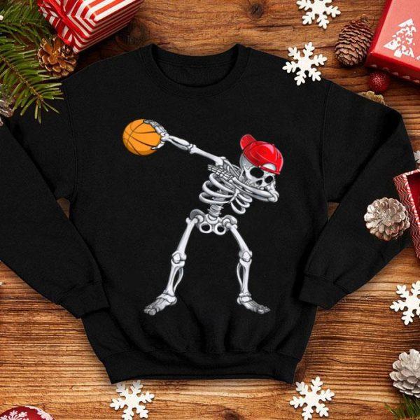 Awesome Skeleton Dabbing Basketball Halloween Costume Gift shirt