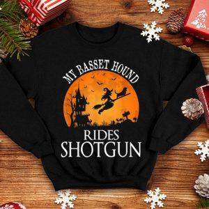 Hot Basset Hound Rides Shotgun Dog Lover Halloween Party Gift shirt