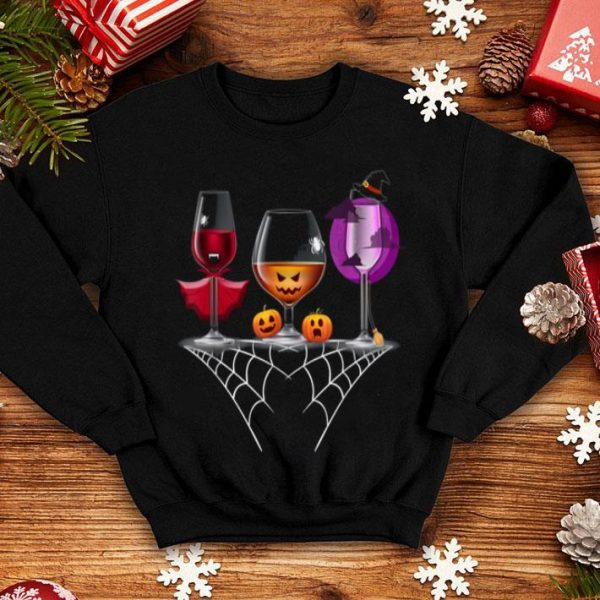 Nice Glasses Of Wine Halloween Dracula Pumpkin Boo Witch shirt