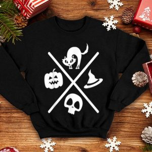 Nice Halloween Black Cat Witch Skeleton Pumpkin X Design Gift B07vzz shirt