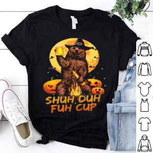 Nice Shuh Duh Fuh Cup Bear Drinking Beer Halloween Pumpkin shirt