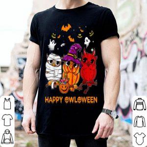Premium Happy Owloween Halloween Owl Pumpkin Wicth Tee shirt