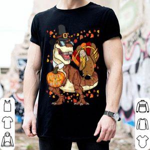 Awesome Thanksgiving T-Rex Dinosaur Gift - Dabbing Turkey shirt