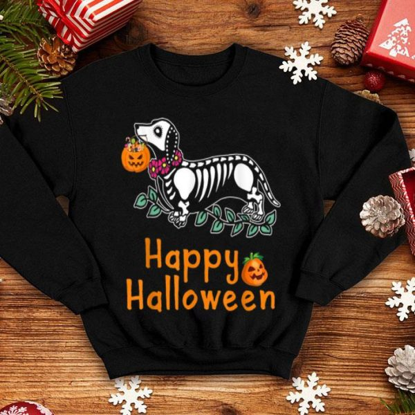 Funny Dachshund Skeleton Pumpkin Happy Halloween shirt