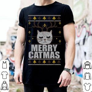 Funny MERRY CATMAS Ugly Christmas Sweater Reindeer Cat Funny Meme shirt