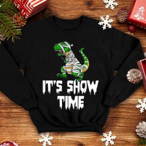 Official It's Show Time Mummy Trex Halloween Horror Scary shirt