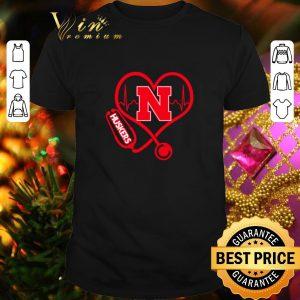 Original Love Nebraska Cornhuskers Stethoscope Heartbeat nurse shirt