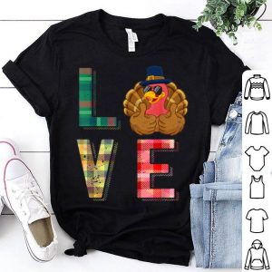 Pretty Funny LOVE Gifts Turkey Autumn Fall Thanksgiving Plaid Gift shirt