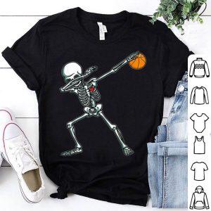 Top Dabbing Skeleton Basketball Funny Halloween Dab Dance shirt