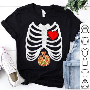 Top Halloween Skeleton Pizza Ribcage Costume Gift Pizza Lovers shirt