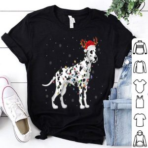Awesome Dalmatian Santa Hat Reindeer Christmas Lights Xmas Gift shirt