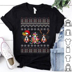 Beautiful Christmas Bernese Mountain Gift Lights Santa Hat Three Dogs shirt