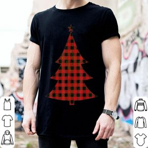 Beautiful Red Buffalo Plaid Christmas Tree Matching Family Xmas Tee shirt