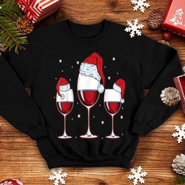 Beautiful Three Glasses of Red Wine Santa Hat Christmas sweater