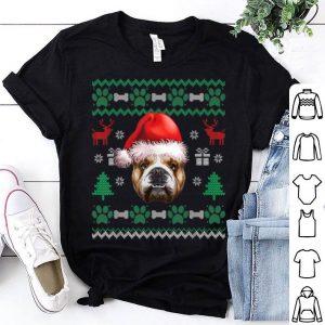 Hot English Bulldog Santa Hat Christmas Ugly Sweater Pajama shirt