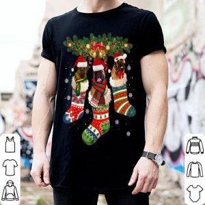 Hot Three English Mastiff In Sock Christmas Santa Hat X-mas Dog shirt