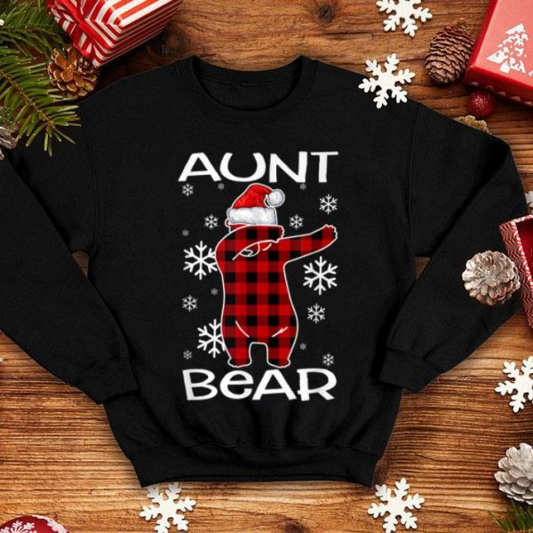 Nice Aunt Bear Pajama Dabbing Hat Santa Christmas Family Ugly shirt