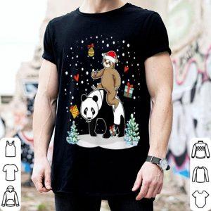 Nice Santa Sloth Riding Panda Lover Funny Christmas Party shirt