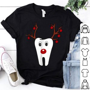 Official Antlers Red Nose Holiday Tooth Reindeer Funny Gifts shirt