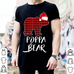 Official Poppa BEAR Red Plaid Christmas Pajama Matching Family Gift shirt