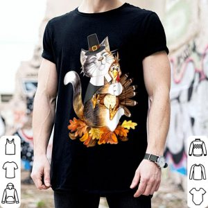 Official Thanksgiving Cat Pilgrim Thanksgiving Turkey shirt