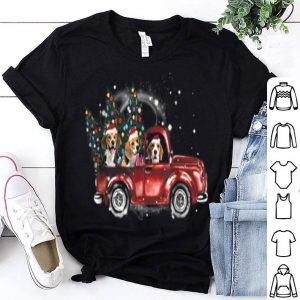 Original Beagle Dogs Ride Red Truck Christmas Funny Xmas Gifts shirt