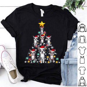 Original Santa Boston Terrier Christmas Tree Light shirt
