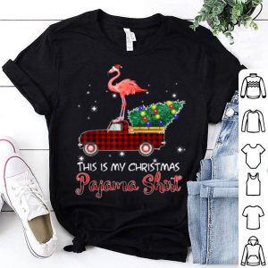 Premium Santa Flamingo Riding Red Truck-This is My Christmas Pajama shirt