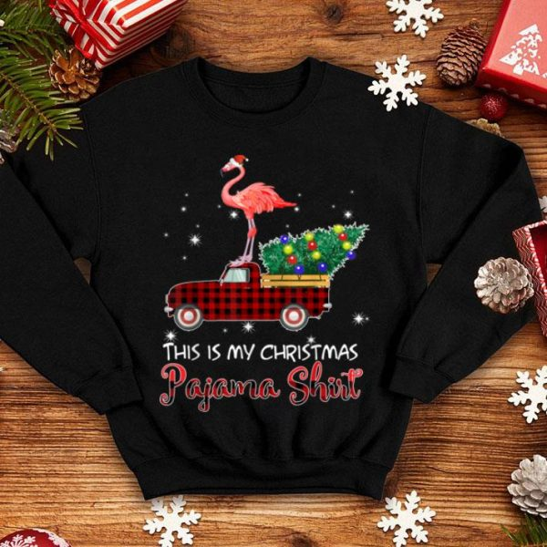 Premium Santa Flamingo Riding Red Truck-This is My Christmas Pajama shirt