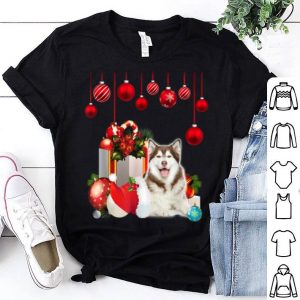 Pretty Funny Siberian Husky Dog Christmas Gift Santa Hat shirt