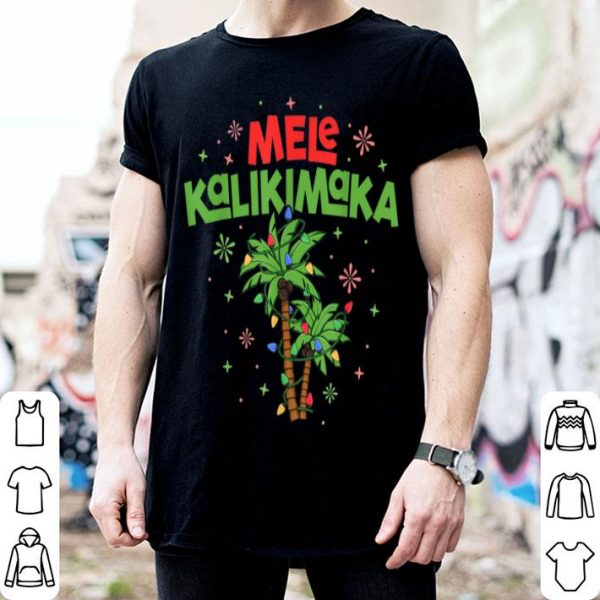 Pretty Mele Kalikimaka Hawaiian Christmas Palm Tree Lights Xmas shirt
