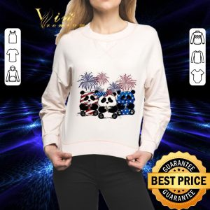 Top Fireworks Panda red white and blue American flag shirt