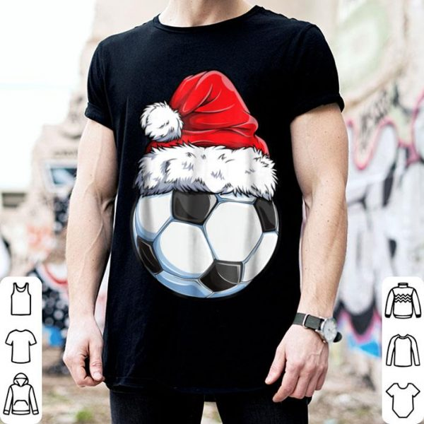 Top Santa Soccer Ball Christmas Boys Kids Xmas Hat Gifts shirt