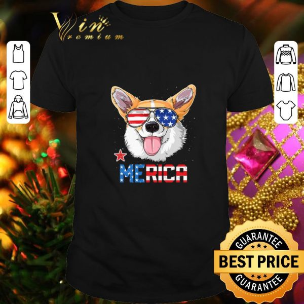 Top Sunglass Corgi Merica 4th July independence day American flag shirt
