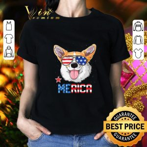 Top Sunglass Corgi Merica 4th July independence day American flag shirt 1