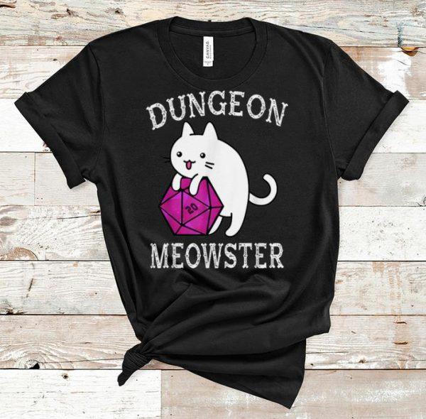 Awesome Dungeon Meowster Nerdy Gamer D20 RPG Cat Lover shirt