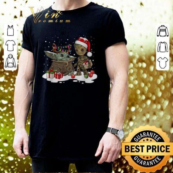 Hot Baby Yoda reindeer and Baby Groot santa Christmas shirt