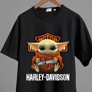 Hot Star Wars Baby Yoda Hug Harley Davidson shirt