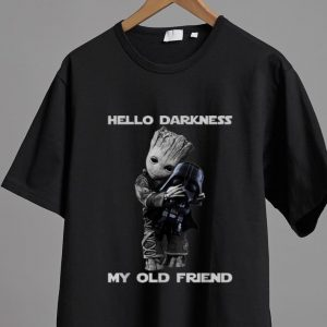 Nice Hello Darkness My Old Friend Baby Groot Hugs Darth Vader shirt