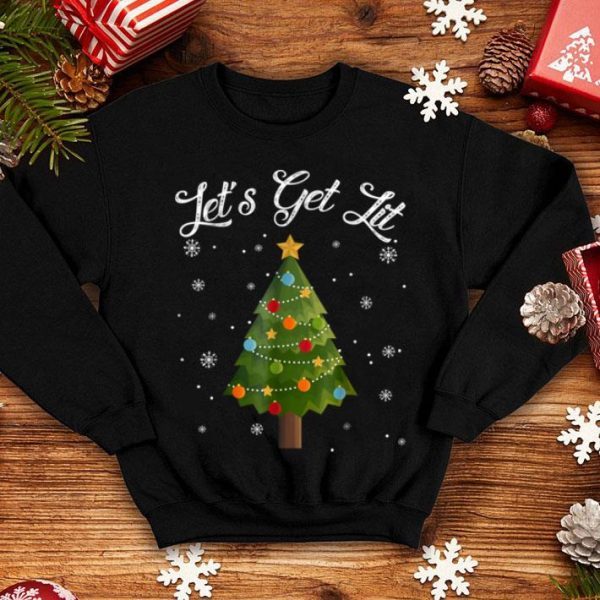 Nice Let's Get Lit Christmas Tree Funny Drinking Gift sweater