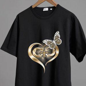 Pretty Butterfly Heart Love New Orleans Saints shirt 1