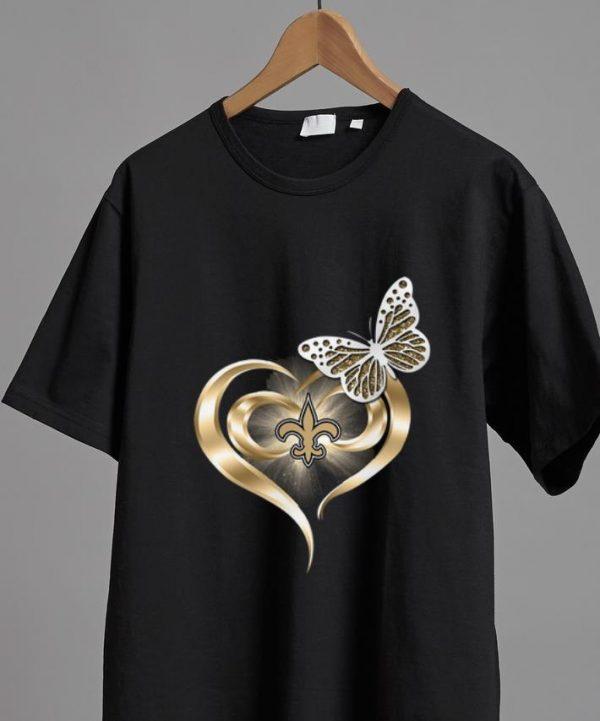 Pretty Butterfly Heart Love New Orleans Saints shirt
