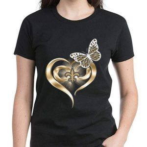 Pretty Butterfly Heart Love New Orleans Saints shirt 2