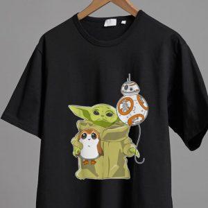 Pretty The Mandalorian Baby Yoda Hug Sad Porg shirt 1
