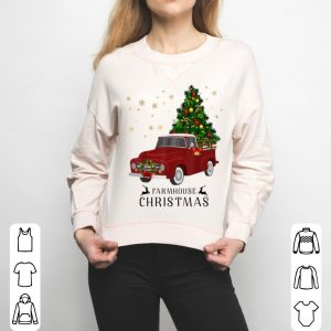 Top Red Truck Farmhouse Christmas sweater