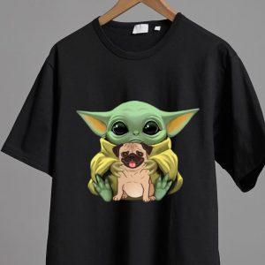 Hot Star Wars Baby Yoda Hug Pug Dog Lovers shirt 1